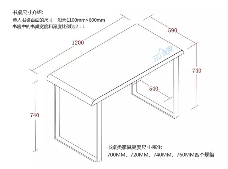 书桌尺寸介绍